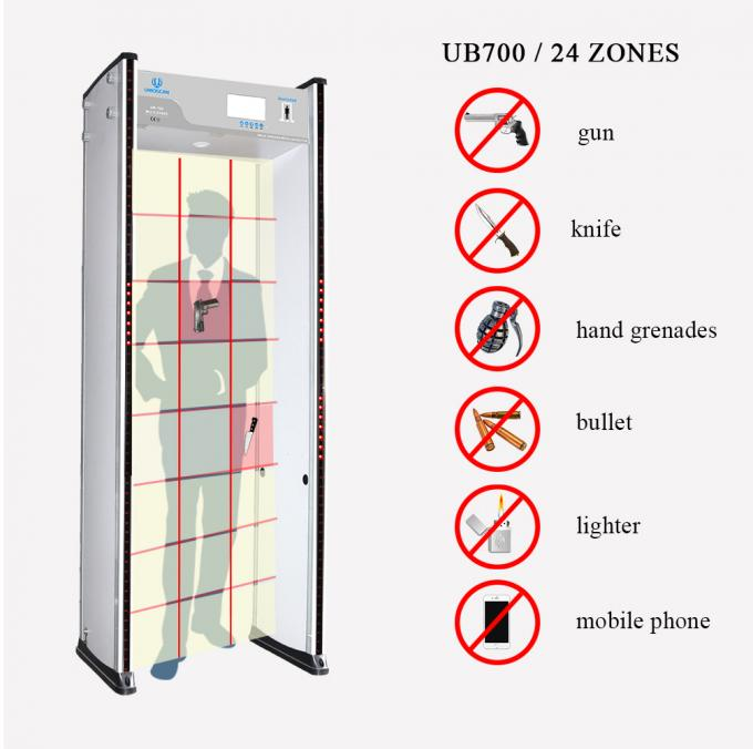 6-24 zones walk through metal detector used in hotel, metro station security scanner door frame metal detector